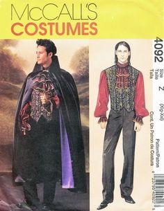 McCall's Pattern 4092 Mens Elegant Vampire, Dracula, Gentleman's Costume! Uncut Size 46-48-50-52 $18.00