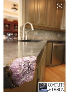 Concrete Kitchen Counter Tops   Mineral Inlay Awesome With Turquoise