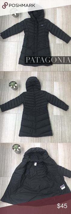 "Patagonia Winter Down Coat. Girls Size 10 Patagonia Down Coat. Girls Size 10. Longer length. EUC No stains, marks rips holes or tears, but please note that some lint is clinging to the Velcro (see last picture). The Patagonia Size Chart indicates that a Size M (10) would fit a 28.5"" chest, 25"" waist, 55"" height and 71-87lb weight. Patagonia Jackets & Coats"