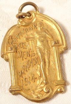 Antique 1914 Germantown Bus. Mens Marathon Bronze Medal Pendant Dieges &  Clust