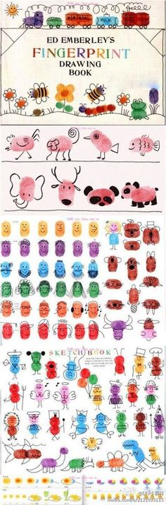 Fingerprint Drawing Book I will look for this for my preschool class. I love doing fingerprint and handprint art with them. Kids Crafts, Projects For Kids, Diy For Kids, Arts And Crafts, Art Projects, Fingerprint Art, Footprint Art, Handprint Art, Crafty Kids