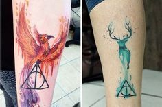 "39 Gorgeous Harry Potter Tattoos That Will Make You Say ""I Want That"" Tattoos, Piercings, Schmuck - diy tattoo image Phoenix Harry Potter, Harry Potter Deathly Hallows, Harry Potter Art, Deathly Hallows Tattoo, Trendy Tattoos, Cute Tattoos, Beautiful Tattoos, Tatoos, Harry Potter Tattoos"
