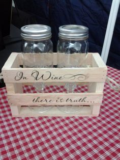 """Etched Redneck wine glasses in wooden crate saying """" In Wine there is truth"""""""