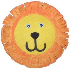 L is for lion... 1. paint orange 2. cut edges 3. glue yellow circle 4. glue eyes 5. mouth & nose