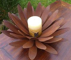 Feuerblume Blüte Edelrost Design Fackel Garten Dekoration Windlicht Metall Rost