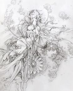 """Timothy Von Rueden shared a post on Instagram: """"🌺🌸🌼 Flora Goddess 🌼🌸🌺  She embodies the alluring springtime in full bloom with an escaping…"""" • Follow their account to see 787 posts. Ink Illustrations, Art And Illustration, Drawing Sketches, Art Drawings, Natur Tattoos, Photographie Portrait Inspiration, Desenho Tattoo, Art Graphique, Pretty Art"""