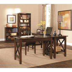 Lowest price online on all Atlantic Furniture Lexington 5 Piece Office Set in Antique Walnut - AH10244-11234-12234-H-80034-80064-PKG