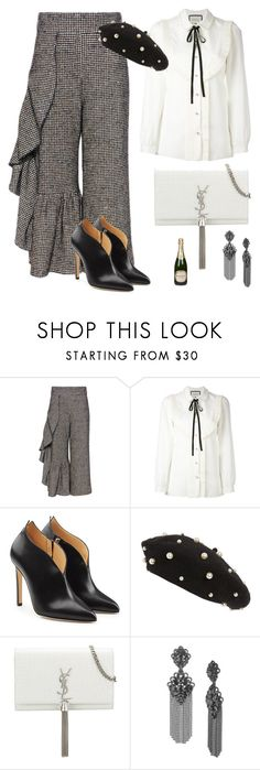 """""""chic"""" by fashionloverv ❤ liked on Polyvore featuring Rachel Comey, Gucci, Chloe Gosselin, Topshop, Yves Saint Laurent, Marchesa and Perrier-JouÃ«t"""