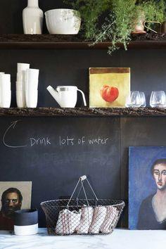 Chalkboard paint on kitchen wall design idea on Thou Swell @thouswellblog