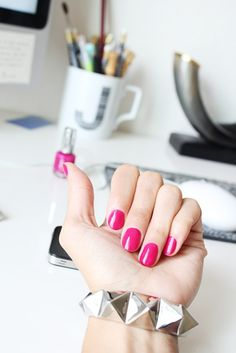 Always Pretty Pink Manicures Sexy Nail Art, Sexy Nails, Trendy Nail Art, Stylish Nails, Cool Nail Art, Fun Nails, Hot Pink Nails, Pink Manicure, Short Nails 2014