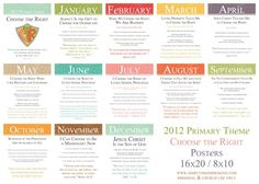 2012 Primary monthly theme posters- Free