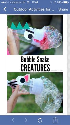Bubble snake creatures - cut a plastic bottle 3/4 down, put a sock on the end tightly, secure with an elastic band, decorate as you wish, put sock end into bubble solution and blow through the mouthpiece. Xx