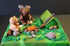 Hunting tent pig moose bonfire marzipan cake Marzipan Cake, Awesome Cakes, Moose, Fondant, Tent, Hunting, Deserts, Birthday Cake, Store