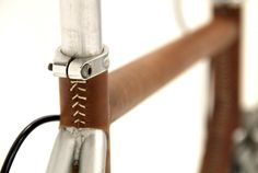 """Leathered"" Bike stitch detail by Konstantin Maloy Leather Bicycle, Leather Corset, Montague Bike, Bici Fixed, Bike Leathers, Garage Bike, Bike Details, Speed Bike, Bicycle Components"