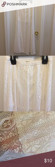 Hollister White Lace Maxi Skirt Long flowy, sheer lace maxi skirt with a white lining. Never worn, no tags, washed once. Perfect for spring and summer. Hollister Skirts Maxi