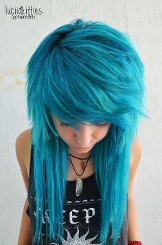 New Hair Dyed Bangs Scene Girls Ideas My Hairstyle, Pretty Hairstyles, Blue Hairstyles, Long Scene Hairstyles, Formal Hairstyles, Wedding Hairstyles, Pelo Emo, Twisted Hair, Emo Scene Hair