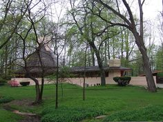 "Dr. Richard Davis House ""Woodside"". 1955. Marion Indiana. Usonian Style. Frank Lloyd Wright"
