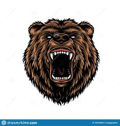 Ferocious Aggressive Bear Head Colorful Concept Stock Vector - Illustration of logo, colorful: 160755692 Header Design, Logo Design, Angry Bear, Bear Vector, Vector Free, Bear Head, Illustration Vector, Mascot Design, Halloween Drawings