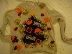 Ugly Christmas sweater Cleveland Browns Med Large x large football tacky winner team sports by keriblue4 on Etsy