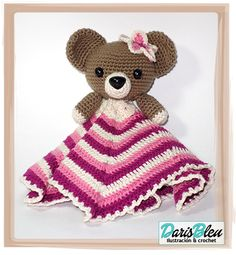 Teddy bear lovey Crochet Lovey, Manta Crochet, Crochet Patterns Amigurumi, Crochet Blanket Patterns, Baby Blanket Crochet, Crochet Toys, Baby Security Blanket, Lovey Blanket, Baby Stuffed Animals