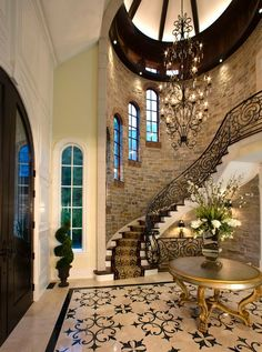 16 Ideas For House Entrance Ideas Luxury Stairways Dream Home Design, My Dream Home, Home Interior Design, Exterior Design, Interior And Exterior, Dream Homes, Staircase Design, Grand Staircase, Stair Design