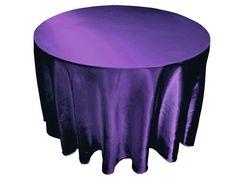 "Purple 120"" Satin Round Tablecloth"