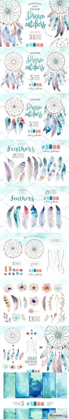 Watercolor dreamcatcher III  stock images