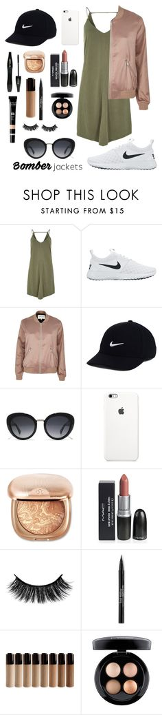 """""""Number 85"""" by ckoelmeyer ❤ liked on Polyvore featuring River Island, NIKE, Gucci, Lancôme, Trish McEvoy, MAC Cosmetics and bomberjackets"""