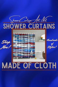 Our luxurious high quality fabric shower curtains are all made with 100% premium grade soft polyester cloth. This allows the curtain to drape gracefully while also providing quick drying technology which easily evaporates any unwanted moisture. See what style matches your decor best! Fancy Shower Curtains, Nautical Shower Curtains, Shower Curtain Art, Bathroom Shower Curtains, Bathroom Fixtures, Man Cave Bathroom, Downstairs Bathroom, Master Bathroom, Bath Screens