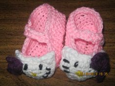 Crochet baby booties inspired by hello kitty by Megancorner2015 on Etsy