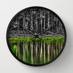 Forest reflection Wall Clock by Claude Gariepy - $30.00