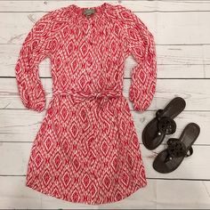 • Anthropologie •• Dress • Anthropologie Maeve ikat shirt dress in excellent condition, size XS. Features quarter length sleeves, a sash tie waist, and 100% polyester. Dry Clean only. Perfect for work and date night! Anthropologie Dresses Midi