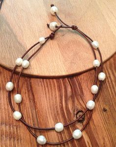 Freshwater pearl and leather necklace Free by sandandseapearls