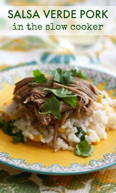 Make this salsa verde pork in the slow cooker - delicious over rice, or use it as a filling for tacos, burritos, and more! #slowcooker #crockpot