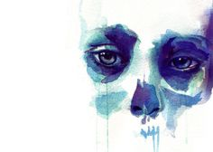 watercolor. face, skull, scary, eyes