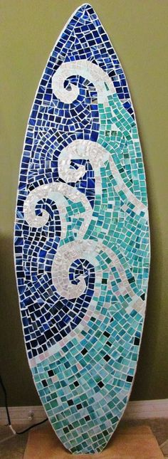 Stained Glass Mosaic Surfboard 5ft  Wall Art on Wood Base. Made to Order - Beach Waves. $400.00, via Etsy.