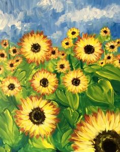 We host painting events at local bars. Come join us for a Paint Nite Party! Sunflower Canvas Paintings, Easy Canvas Painting, Spring Painting, Stone Painting, Painting & Drawing, Paint And Drink, Sunflower Art, Beginner Painting, Simple Art