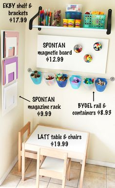 Ikea craft corner.  I am going to try to make something like this for Elle!!  Just trying to figure out the best place for it!