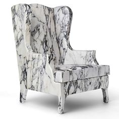 Louis XV Goes to Sparta Chair - marble photo printed silk and viscose fabric