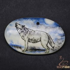Scrimshaw Pendant  Carved Hand Painted Wolf  Rubber Stamp ZL20939 #ZL #Pendant