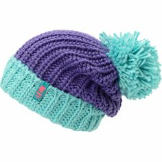 Instantly brighten up any outfit with the colorful new Neff girls Sofia purple and blue fold beanie. Warm up your head and style with the all-acrylic ribbed knit construction, purple hat body with blue fold and pom on top, and a pink and blue Neff brand tag embroidered on the fold.