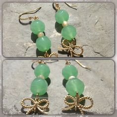 Green aventurine and mother of pearl gold plated earrings with cute gold plated bow! $10 at www.facebook.com/stacie.dertinger
