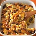 Veggie-Packed Strata Recipe -- peppers, onions, squash, bread, eggs and cheese