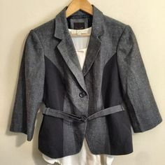 "HOST PICK The Limited ✨ Belted Blue Jacket Beautiful and unique piece. Never worn; in excellent condition. Navy & blue tweed, color block style. Belt can detach. Adorable w/ jeans. Size Medium. See approx. measurements below.                                                23"" length 17"" sleeves (3/4 length) 38"" bust fully buttoned  95% Acrylic, 5% Polyester Dry clean only Pet free/smoke free - Clean Home! ❤️ Next day shipper - see my Love Notes!    I consider offers through offer feature, or…"