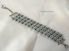 Teal and gunmetal cuff bracelet silver seed by EnlightenedSpirit