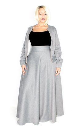 Plus Size Sweatshirt Maxi Skirt / Women plus size High Waist / Sweatshirt Fleece 42 L - Plus Size Skirts - Ideas of Plus Size Skirts - Plus Size Sweatshirt Maxi Skirt / Women plus by aconversationpiece Plus Size Maxi, Plus Size Skirts, Curvy Girl Fashion, Plus Size Fashion, Curvy Outfits, Plus Size Outfits, Maxi Skirts For Women, Mode Plus, Houndstooth Dress