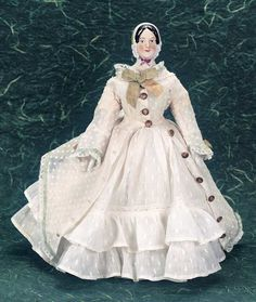 M'Lady - Margaret Hartshorn Collection: 56 German Porcelain Lady with Sculpted Bonnet by KPM Berlin