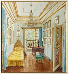 One room of Patricia Lopez-Willshaw's suite at Hotel Rodocanachi, a 1903 mansion that she shared with her husband Arturo Lopez- Willshaw in the Paris suburb of Neuilly-sur-Seine. Watercolor by Alexandre Serebriakoff, 1951.
