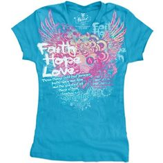 Faith, Hope, Love Christian Juniors Christian T-Shirt.  Only $14.99 at HGAChristianApparel.com