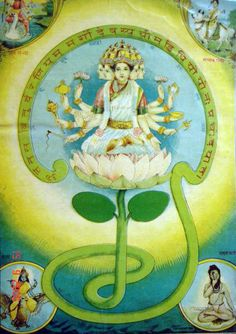 Gayatri : She is shown as having five heads and is usually seated on a red lotus - this signifies wealth. The four heads of Gayatri represent the four Vedas, the fifth head represents the almighty God. In her ten hands she holds all symbols of Lord Vishnu. The weapons held by the ten hands of Gayatri give a divine protection, desired boon to the aspirant, at the same time all the enemies and bad elements working unfavourably against the devotee are killed.